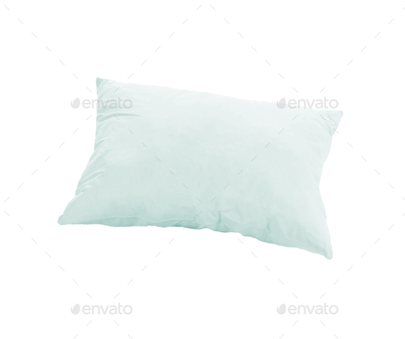 blue pillow isolated on white background - Stock Photo - Images