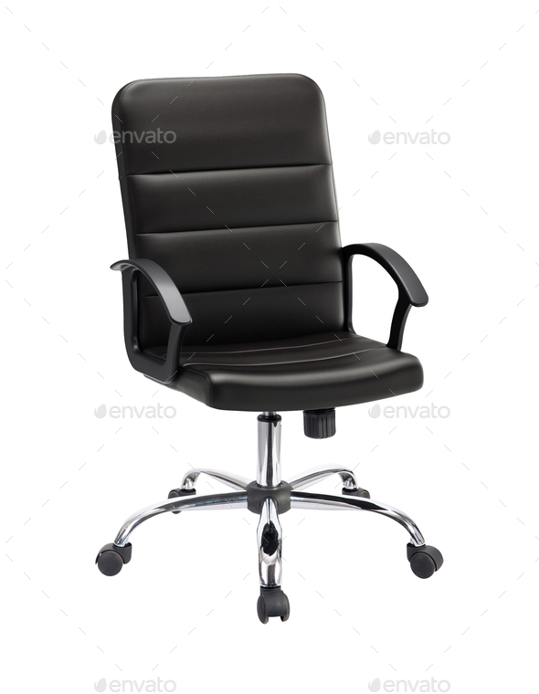 The office chair from black leather - Stock Photo - Images