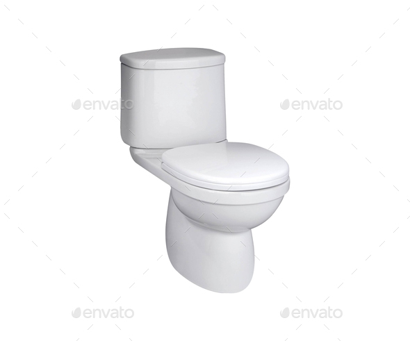 toilet bowl on a white background - Stock Photo - Images