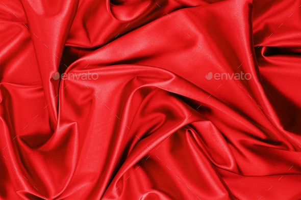 red satin or silk fabric - Stock Photo - Images