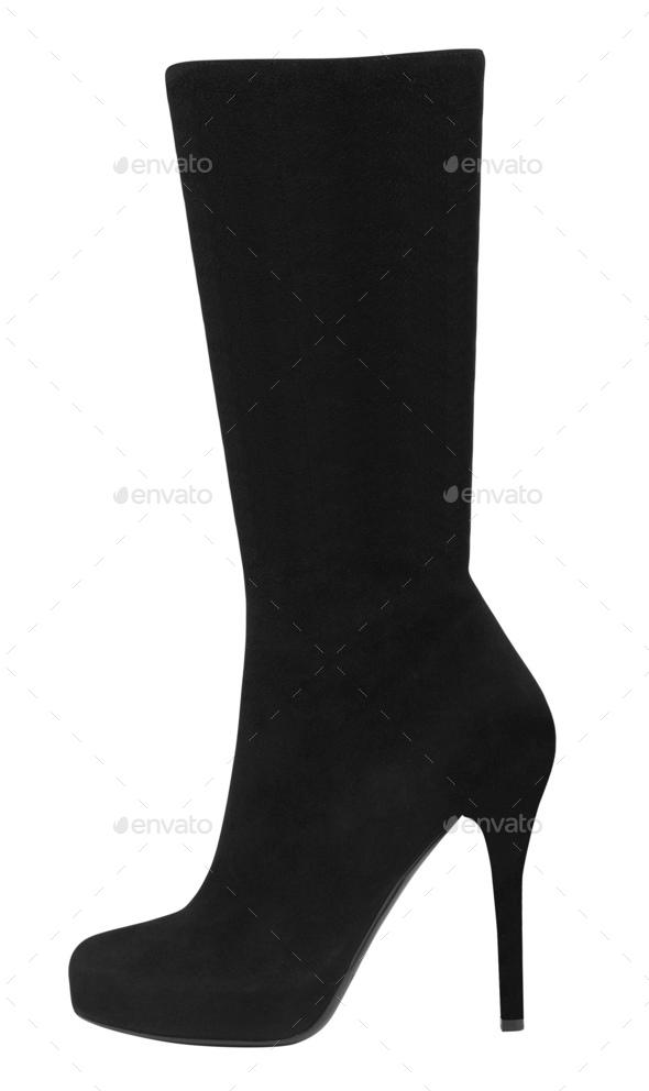 black suede boots autumn - Stock Photo - Images