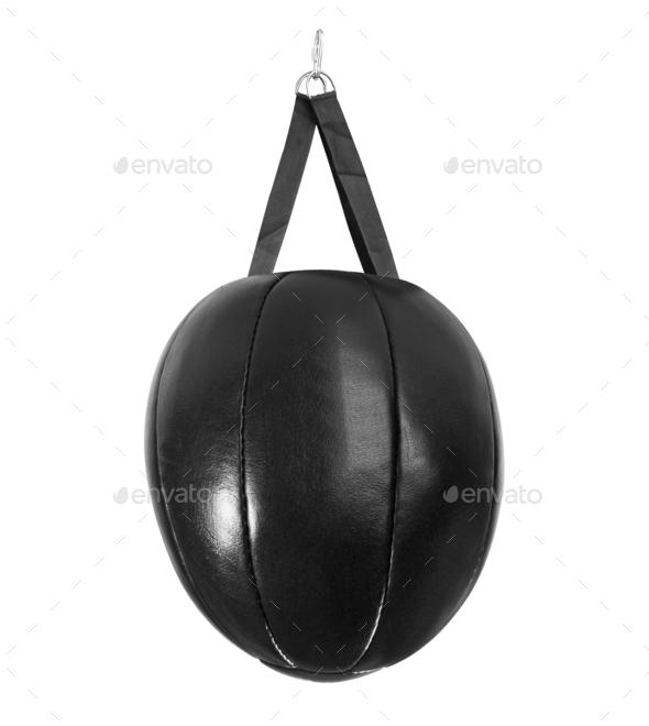 leather black punching bag - Stock Photo - Images