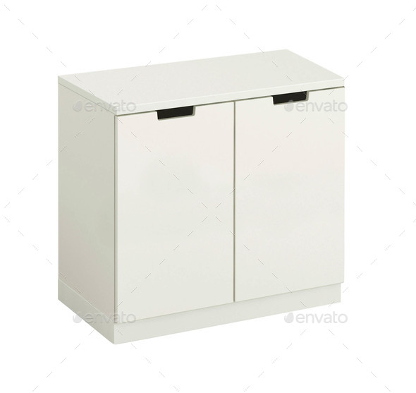 beautiful white wooden modern cupboard isolated on white - Stock Photo - Images