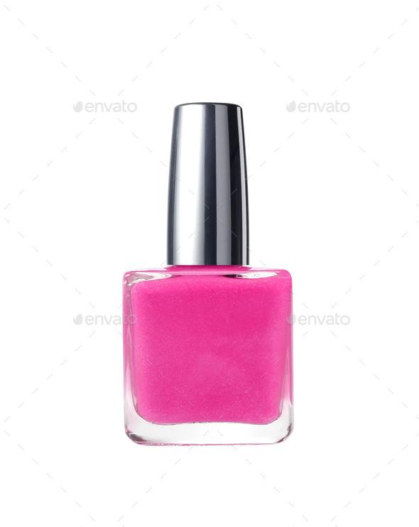 nail polish bottle on white background - Stock Photo - Images