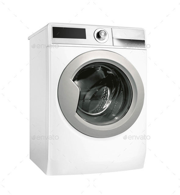 Modern silver washing machine isolated on white background - Stock Photo - Images