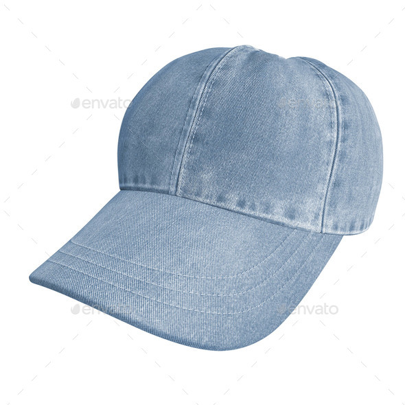 blue jeans cap on white - Stock Photo - Images