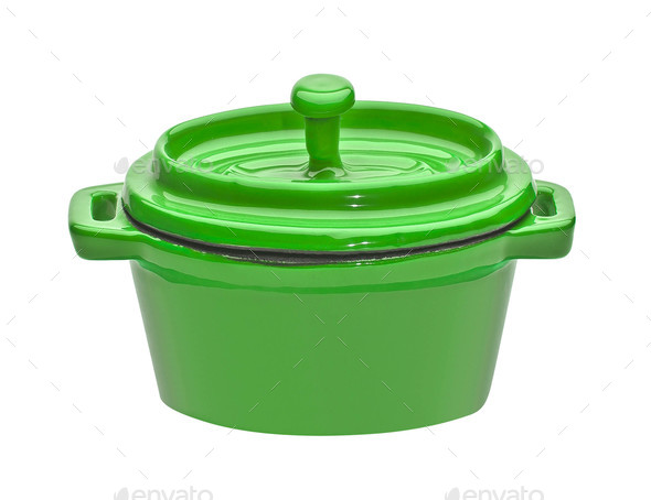 green pot isolated - Stock Photo - Images