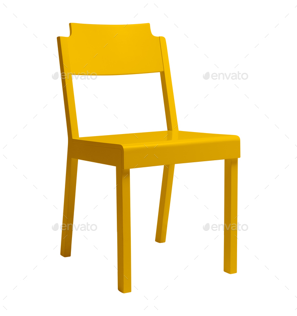 Wooden chair, isolated on white background - Stock Photo - Images