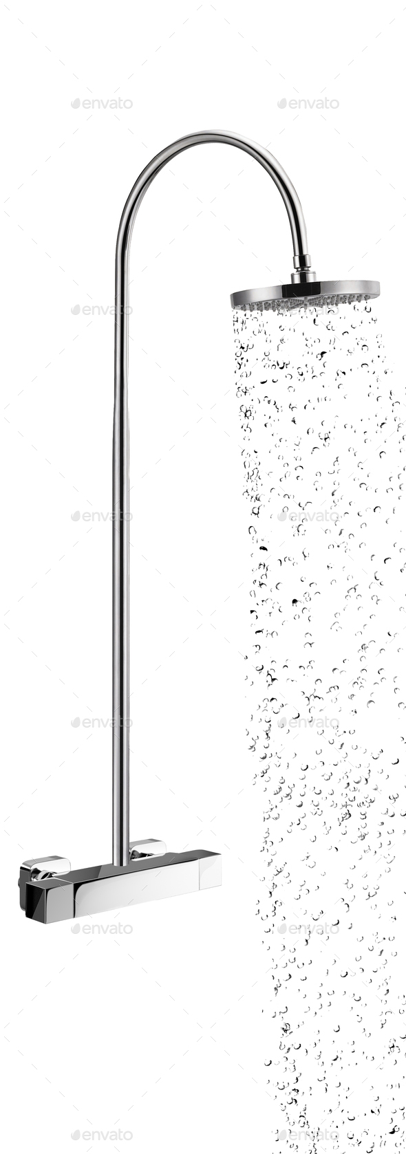Full Chrome Shower Head Isolated on White Background - Stock Photo - Images