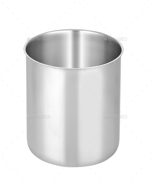 metal pot isolated on white background - Stock Photo - Images