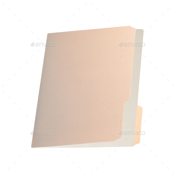 Blank brown card folder file with paper - Stock Photo - Images