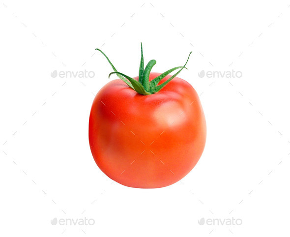Fresh red tomato with green stem on white background - Stock Photo - Images