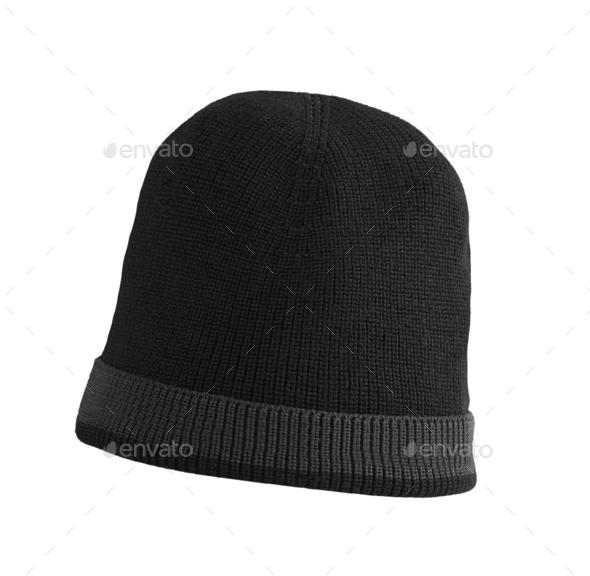 black woolen winter hat - Stock Photo - Images