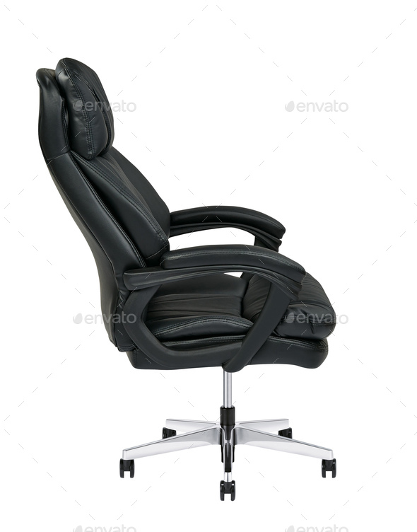 Black leather office chair isolated on white - Stock Photo - Images
