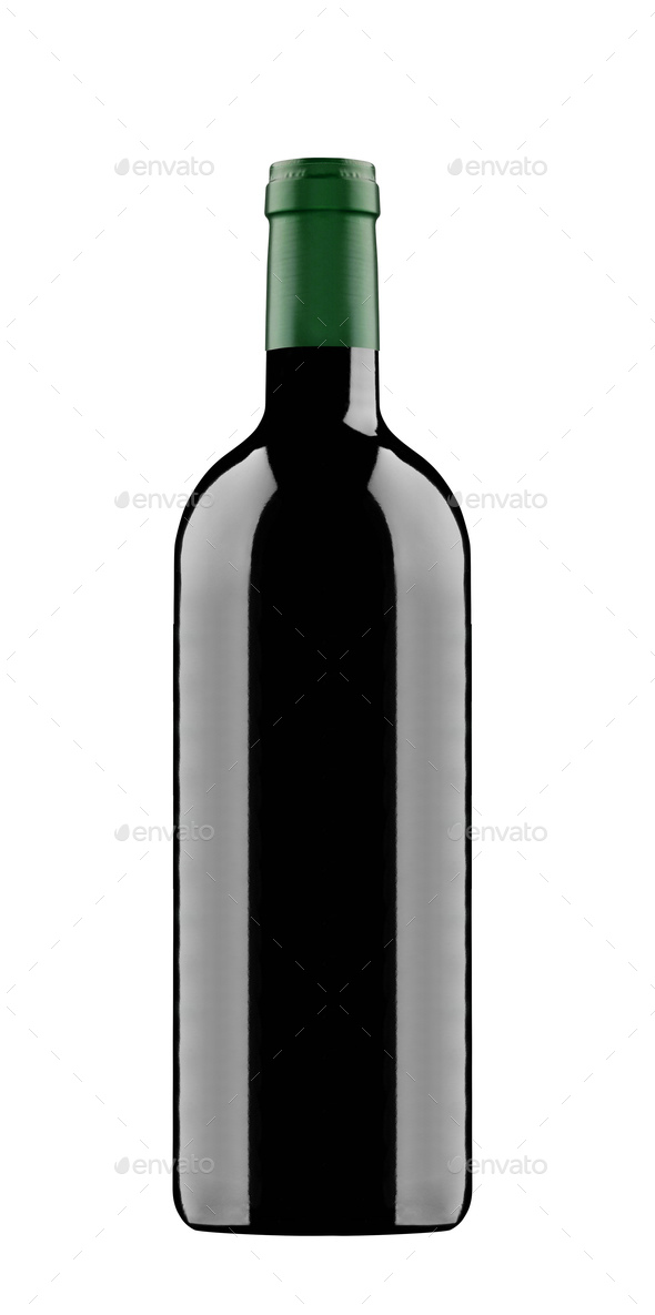 red wine and a bottle isolated on white background - Stock Photo - Images