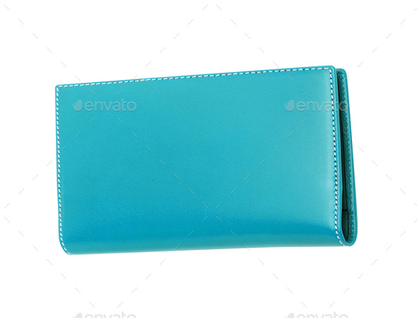 blue leather case isolated - Stock Photo - Images