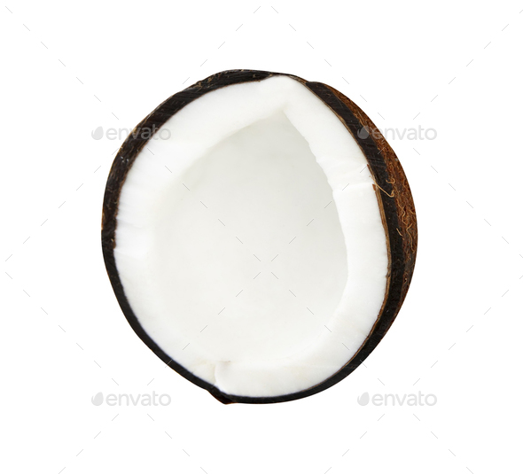 Half coconut isolated on white - Stock Photo - Images