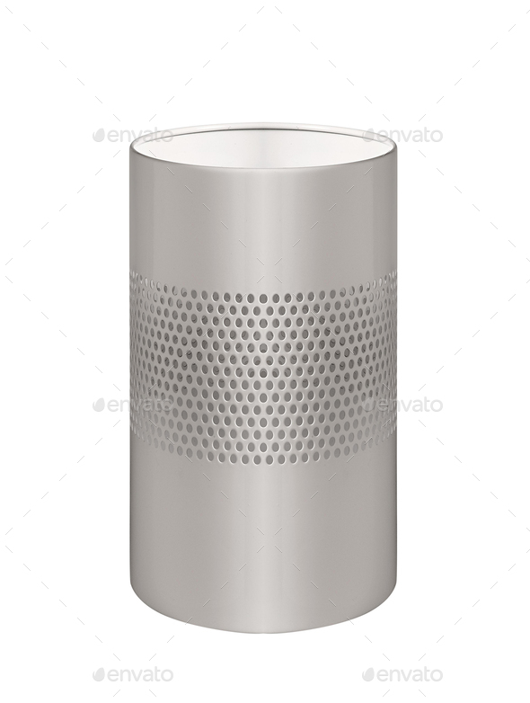 metal trash can isolated on white background - Stock Photo - Images