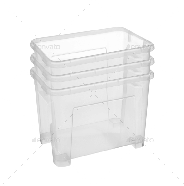 Set of plastic household baskets for storage isolated on white - Stock Photo - Images