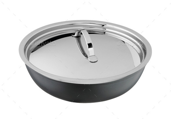 steel frying pan closed by splatter screen - Stock Photo - Images