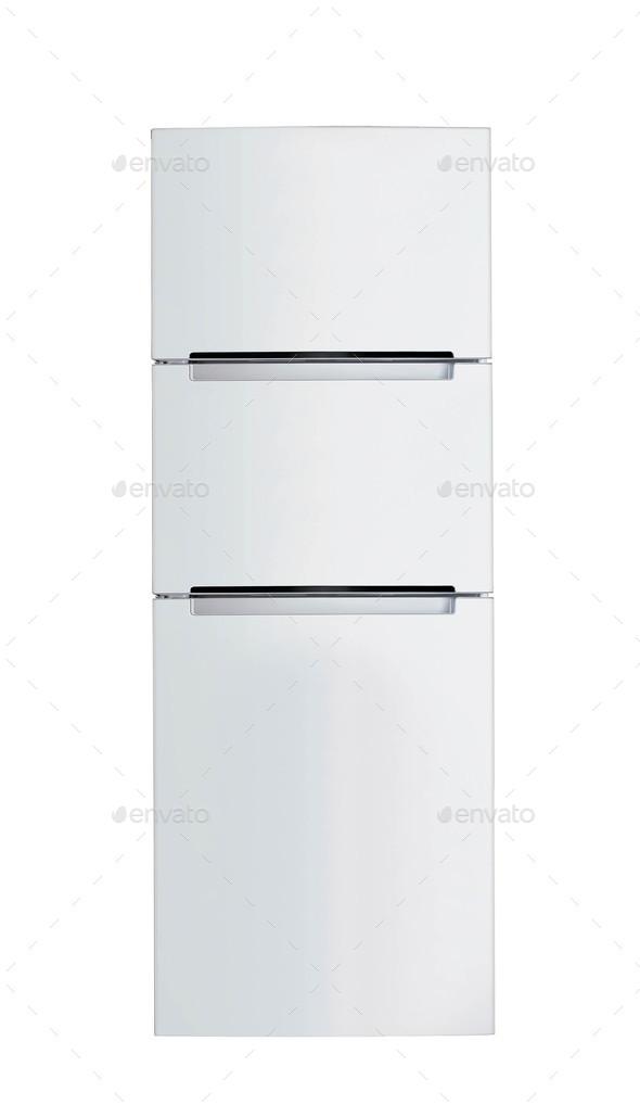 Steel fridge isolated - Stock Photo - Images