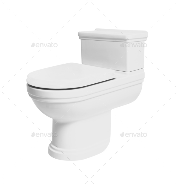 toilet bowl isolated on white - Stock Photo - Images
