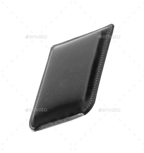 black wallet isolated on white background - Stock Photo - Images
