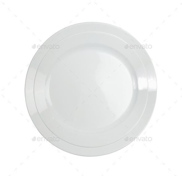 Empty white plate isolated on white - Stock Photo - Images
