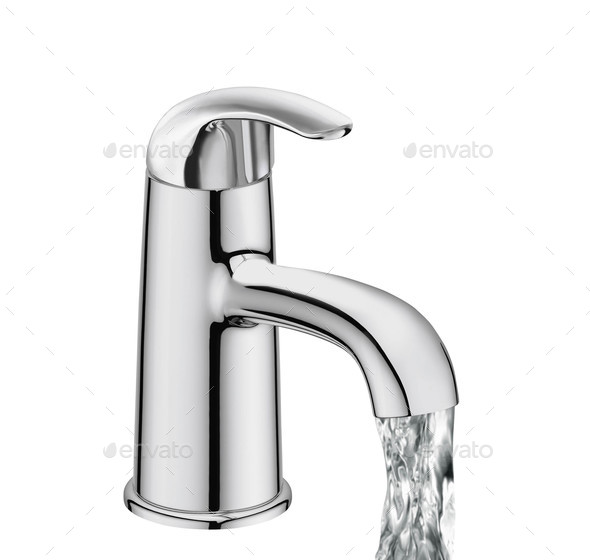 Chrome Water Faucet Isolated - Stock Photo - Images