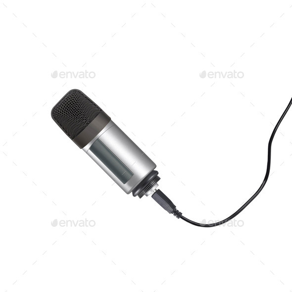 Microphone isolated on the white - Stock Photo - Images