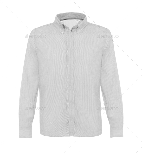 white shirt with long sleeves isolated on white - Stock Photo - Images