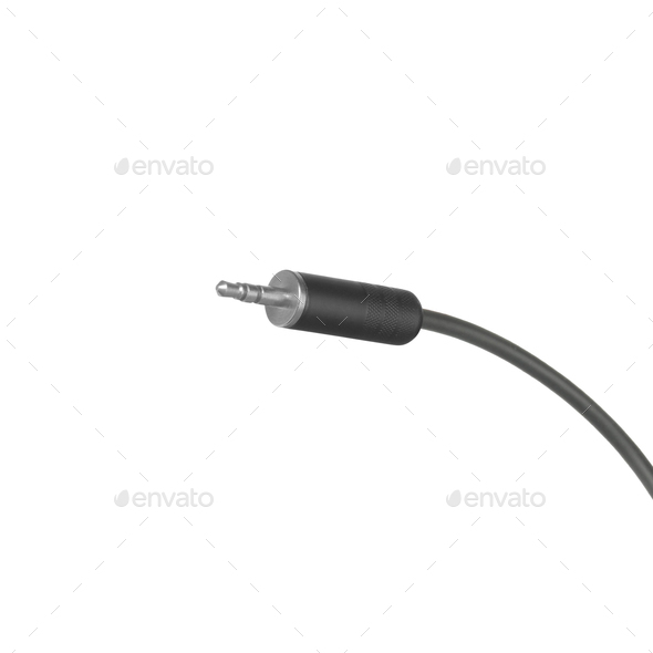 audio jack with black cable isolated - Stock Photo - Images