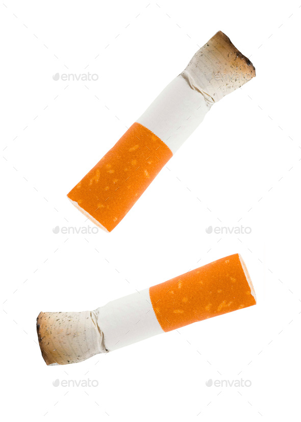 two cigarettes butt isolated on white - Stock Photo - Images