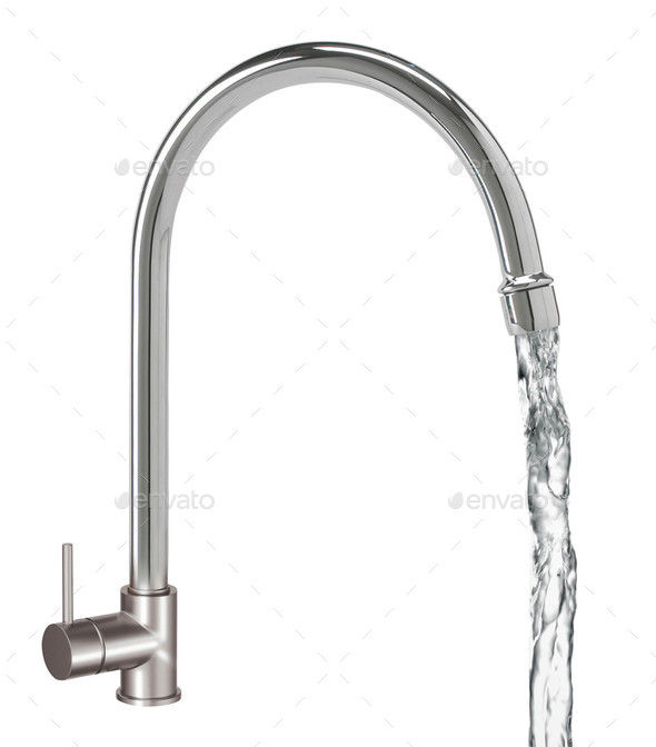 Chrome Water Faucet Isolated on White - Stock Photo - Images