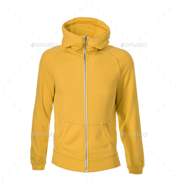 yellow hoodie isolated on white - Stock Photo - Images