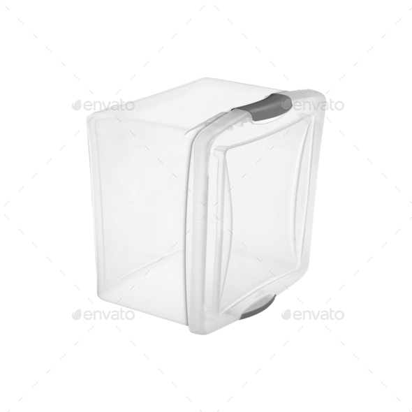 Plastic food box isolated on white - Stock Photo - Images