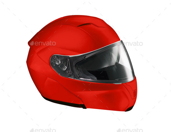 Red helmet Isolated on white background - Stock Photo - Images