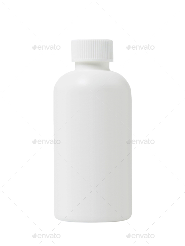 White plastic medical container for pills isolated on white - Stock Photo - Images