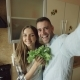 POV Young Happy Couple Taking Selfie Picture While Cooking Breakfast in the Kitchen at Home - VideoHive Item for Sale