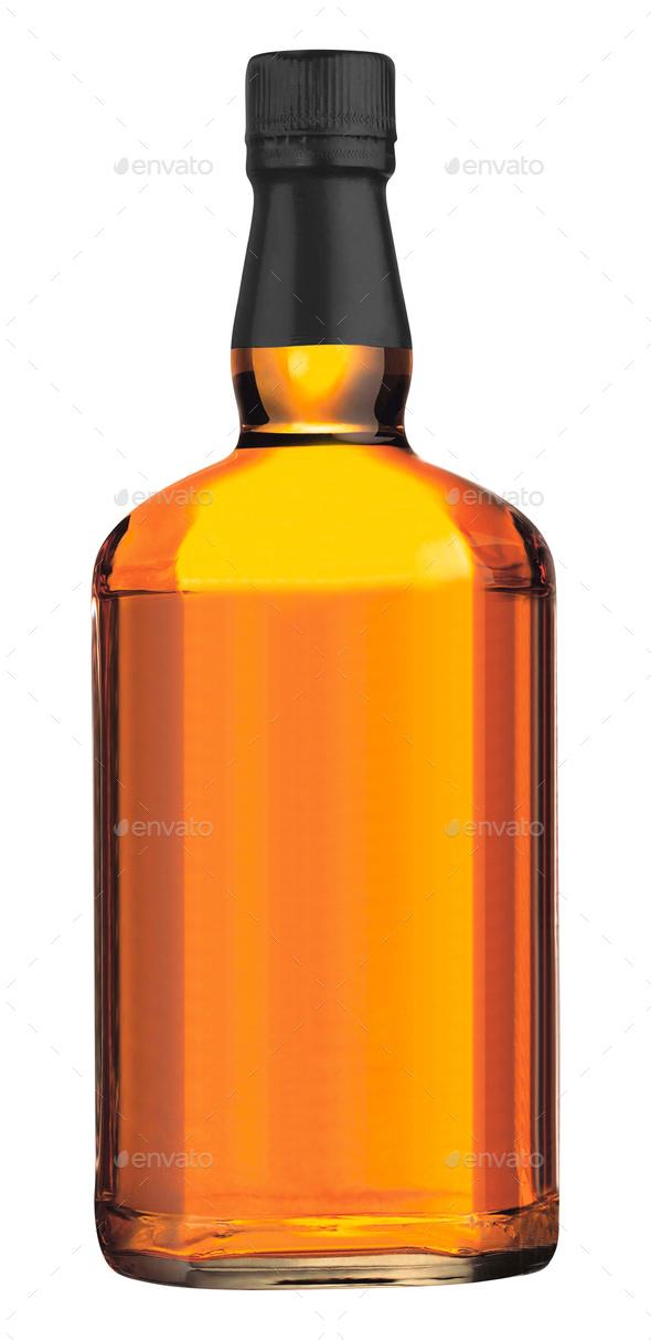 wisky bottle on white background - Stock Photo - Images