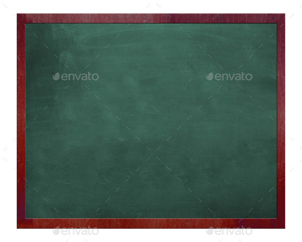 Blank old blackboard isolated on white - Stock Photo - Images