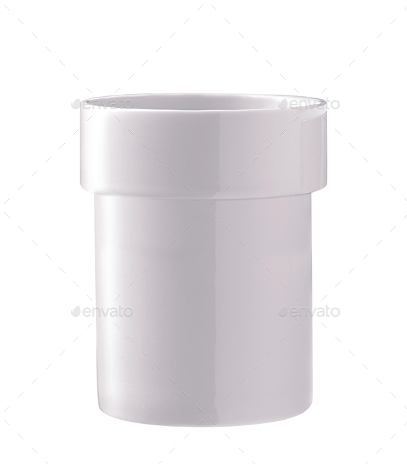 White plastic pot isolated on white - Stock Photo - Images