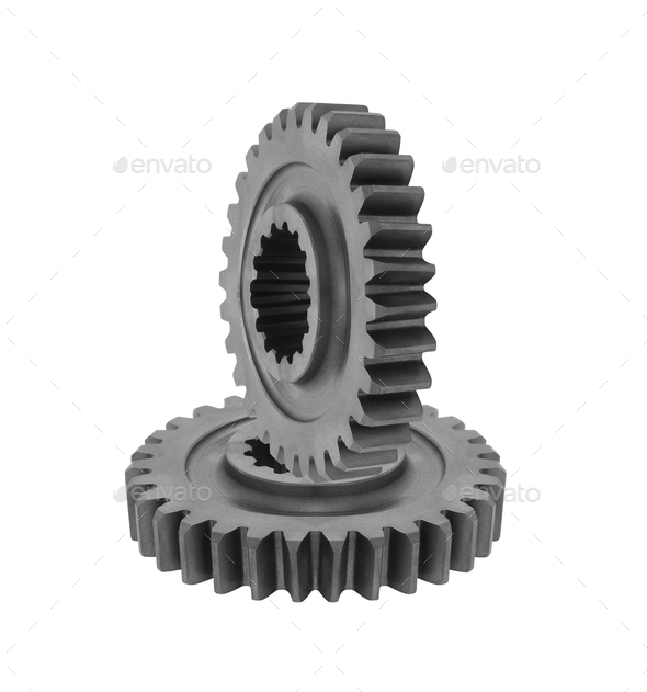 Metal gears on white - Stock Photo - Images