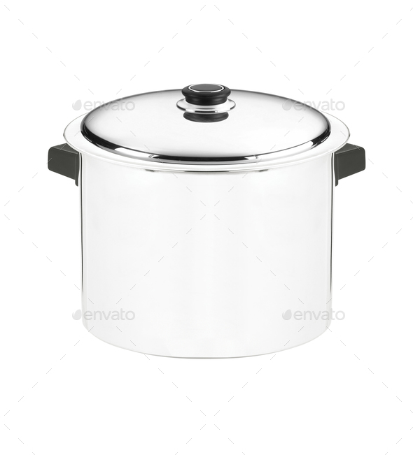 Stainless steel pot - Stock Photo - Images