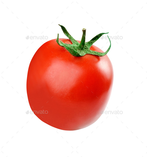 one fresh red tomato isolated on white - Stock Photo - Images
