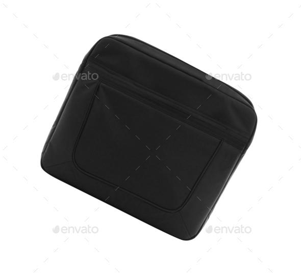 Black textile laptop briefcase - Stock Photo - Images
