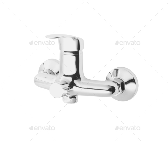 Chrome mixer tap on white background - Stock Photo - Images