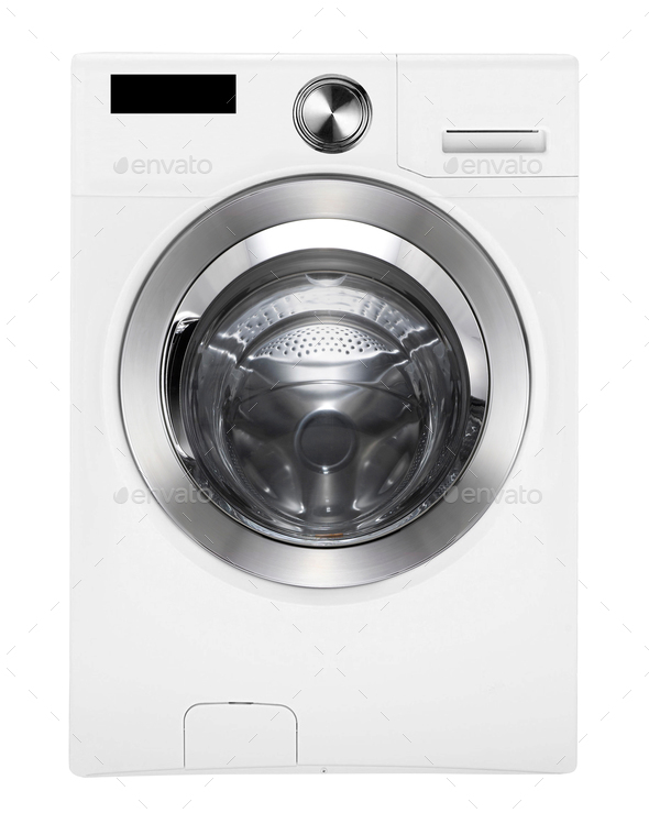 Washing machine on white isolated - Stock Photo - Images