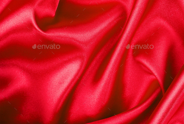 red satin or silk fabric isolated - Stock Photo - Images
