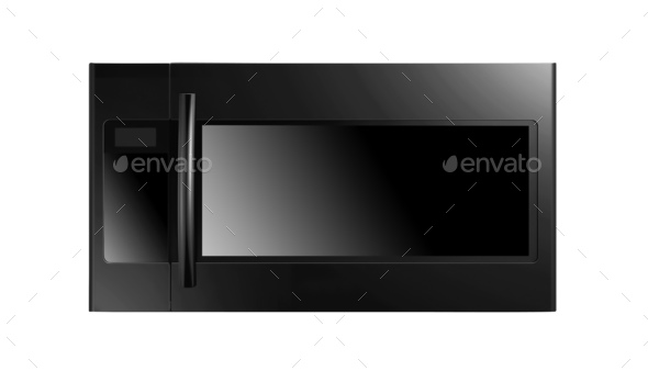 black microwave oven isolated on white background - Stock Photo - Images